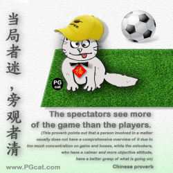 The spectators see more of the game than the players. (This proverb points out that a person involved in a matter usually does not have a comprehensive overview of it due to too much concentration on gains and losses, while the onlookers, who have a calmer and more objective attitude, have a better grasp of what is going on) | 当局者迷旁观者清